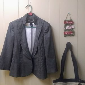 White House Black Mark Gray marbled Pleated blazer
